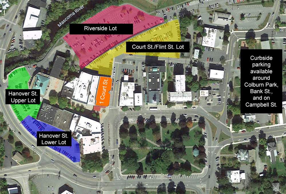 An aerial view of parking options in Lebanon, NH.