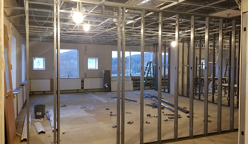 Construction on a new Osher classroom.